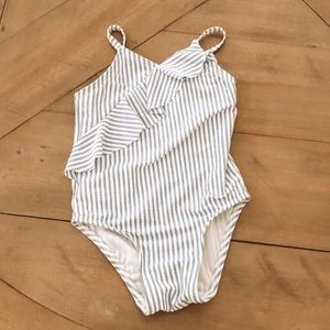 Old Navy white and blue striped bathing suit!